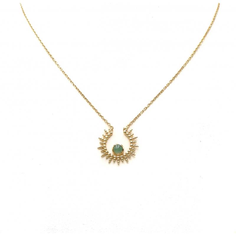 Collier soleil aventurine en plaqué or - Les créations de Lili
