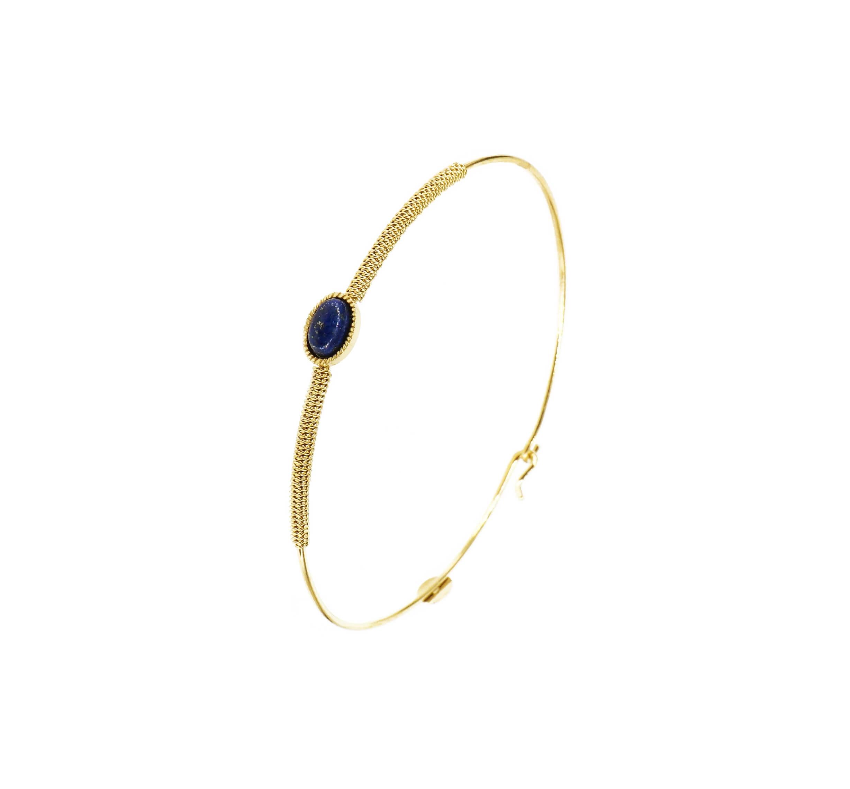 Bracelet jonc stone ovale lapis lazuli acier or - Zag Bijoux