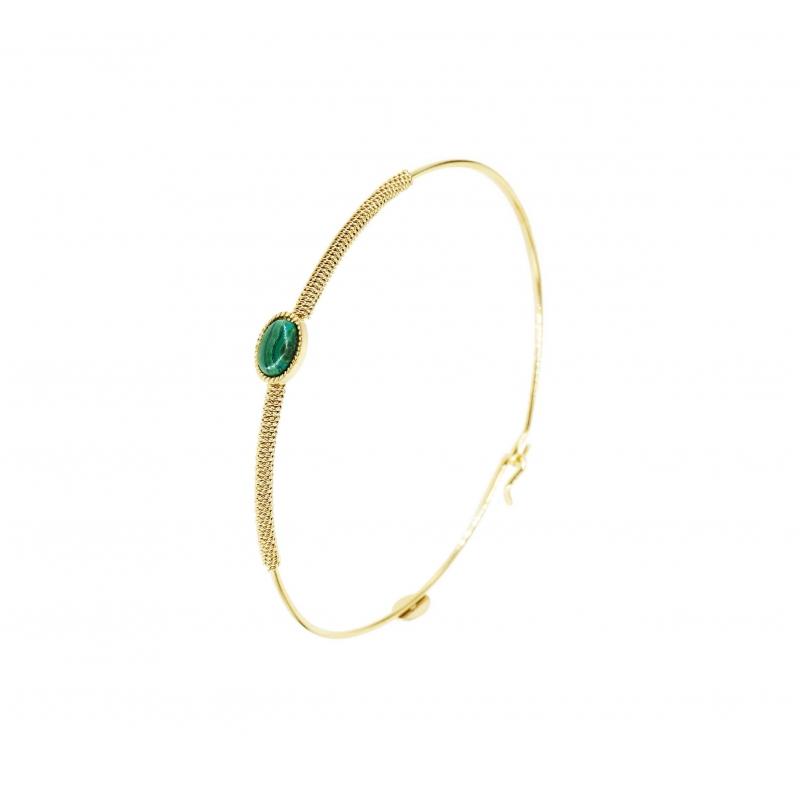 Stone oval malachite bangle...
