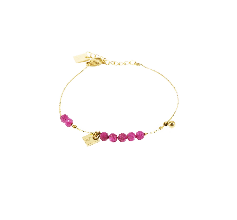 Bracelet multi stone rubis indien en acier or - Zag Bijoux