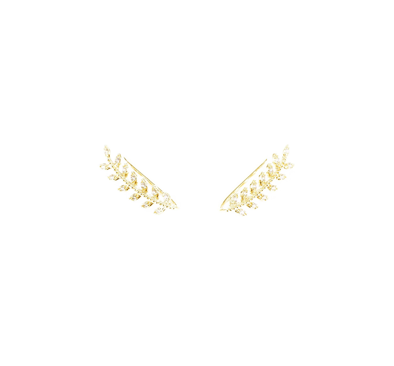Bijoux d'oreilles lauriers en plaqué or - Pomme Cannelle