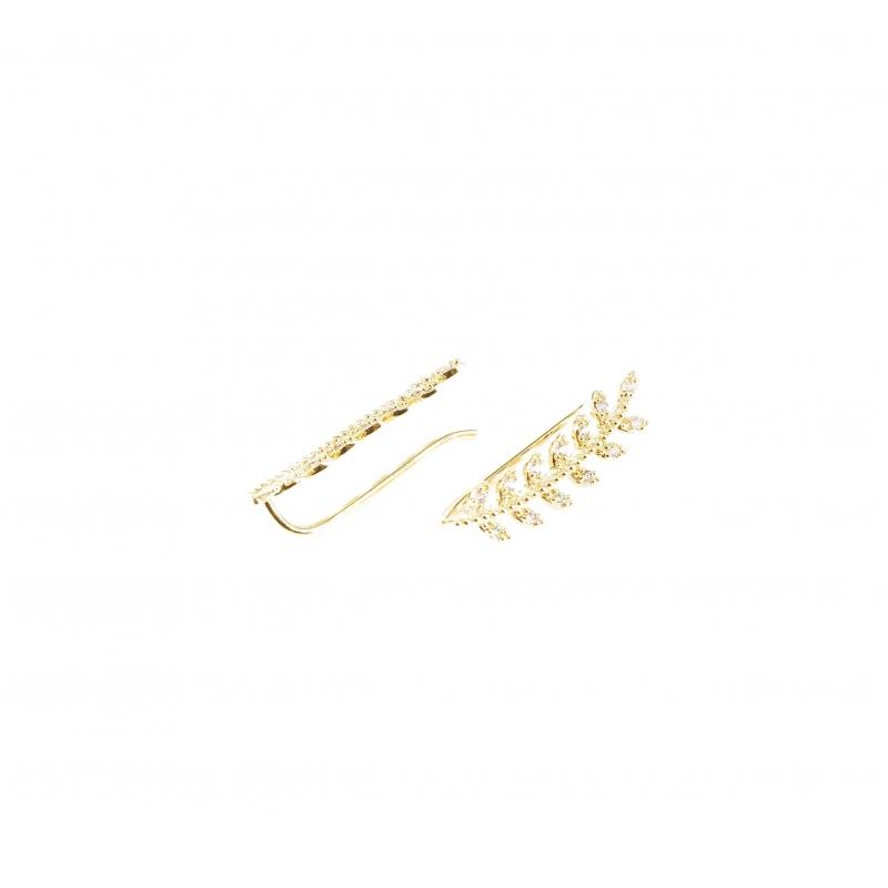 Gold laurel earrings -...