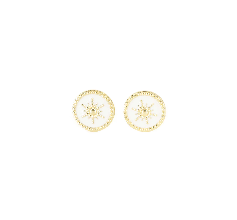Boucles d'oreilles soleil émaillé blanc or - Pomme Cannelle