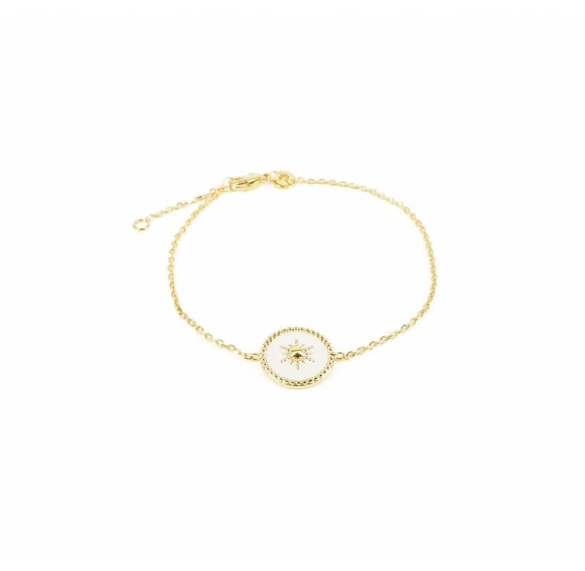 Bracelet soleil émaillé blanc plaqué or - Pomme Cannelle