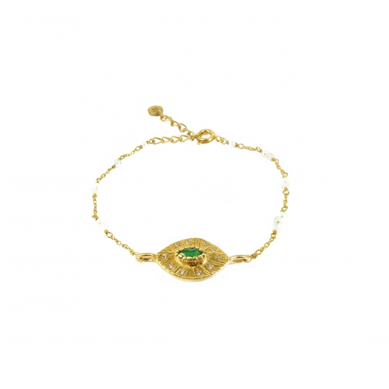 Bracelet oeil onyx verte perles en laiton doré - Lucky Team