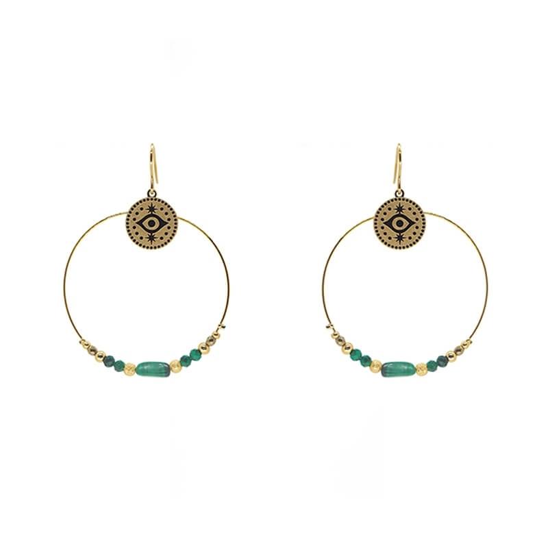 Boucles d'oreilles stone eye en acier jaune et malachite - Zag Bijoux