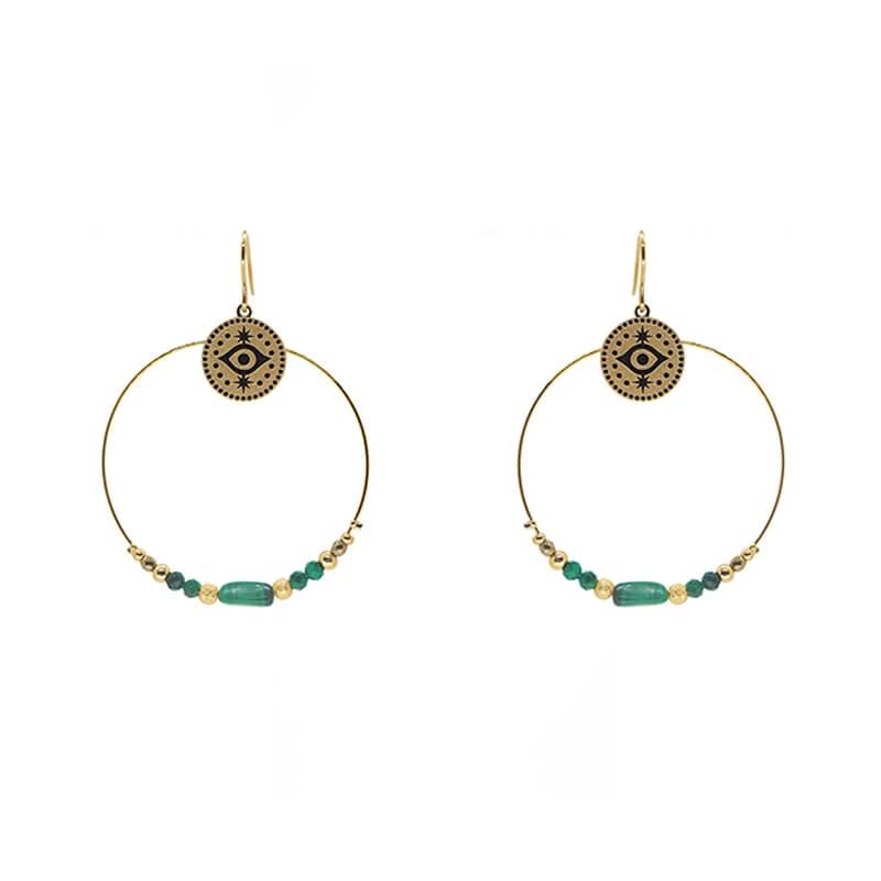 Boucles d'oreilles stone eye en acier et malachite - Zag Bijoux