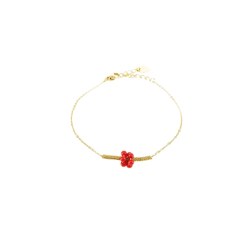 Bracelet grappe corail en acier or jaune - Zag Bijoux