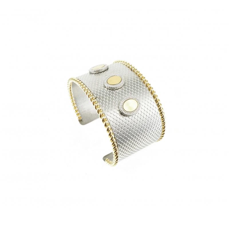 Bracelet manchette vintage bicolore acier - Zag Bijoux