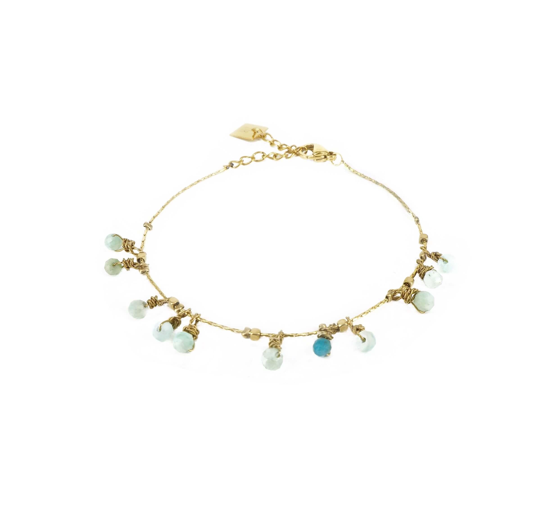 Bracelet pampilles stones amazonite acier jaune - Zag Bijoux