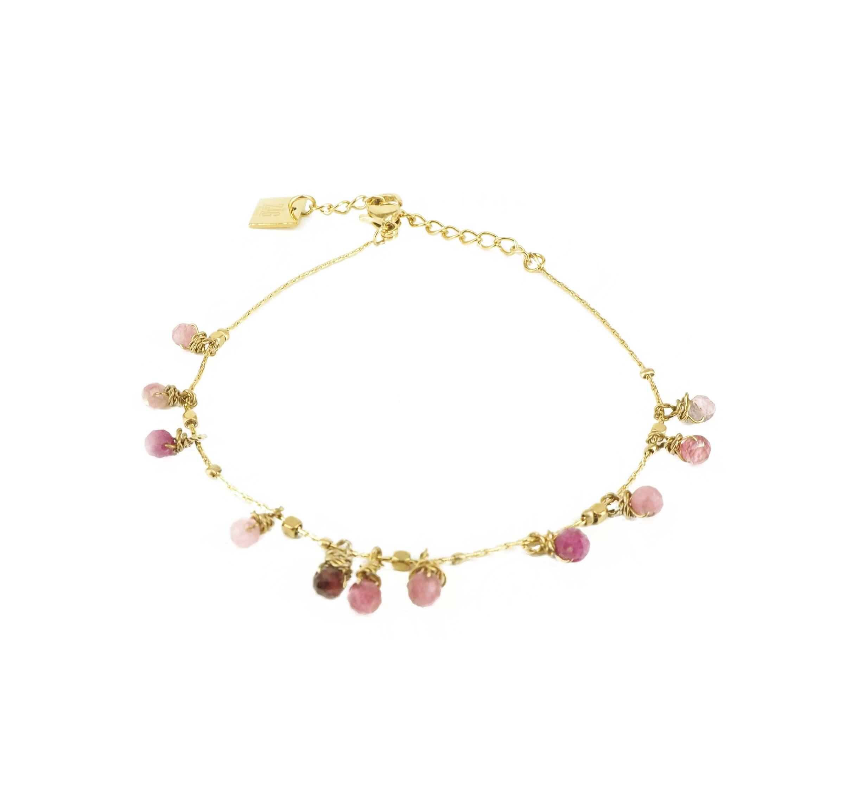Bracelet pampilles stones tourmaline acier jaune - Zag Bijoux
