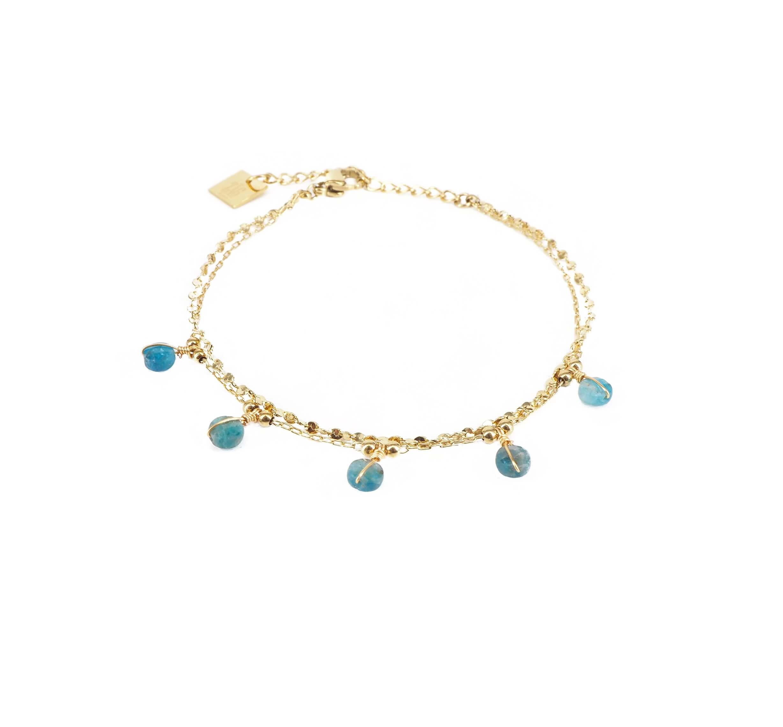 Bracelet perle apatite en acier jaune - Zag Bijoux