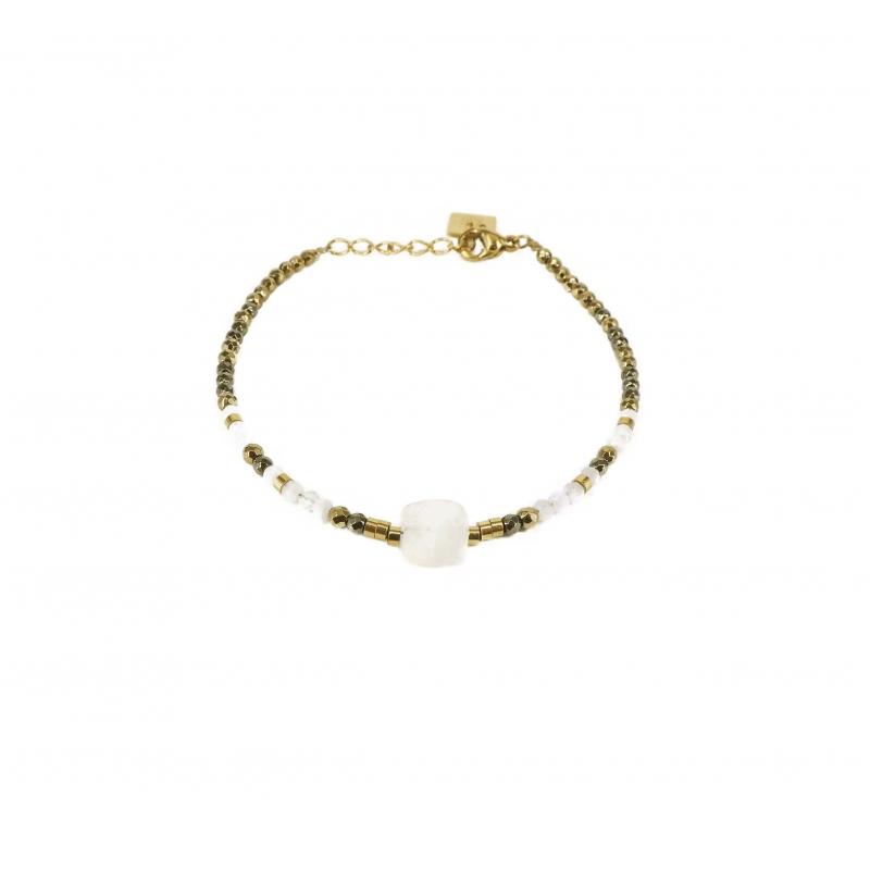 Bracelet stone carré pierre...