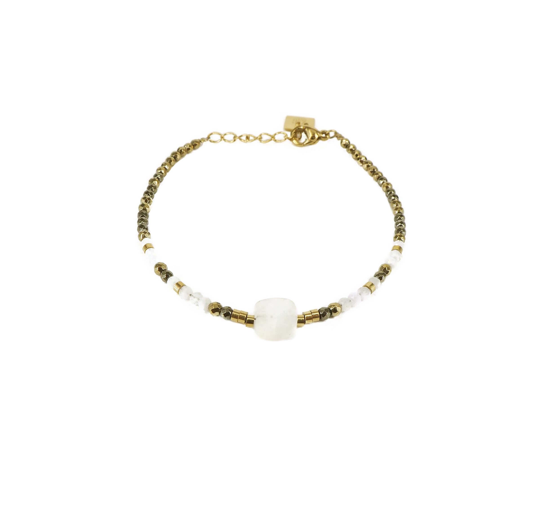 Bracelet stone carré pierre de lune acier or jaune - Zag Bijoux