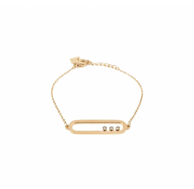 Bracelet ovale 3 oxydes en acier rose - Zag Bijoux - Zag Bijoux