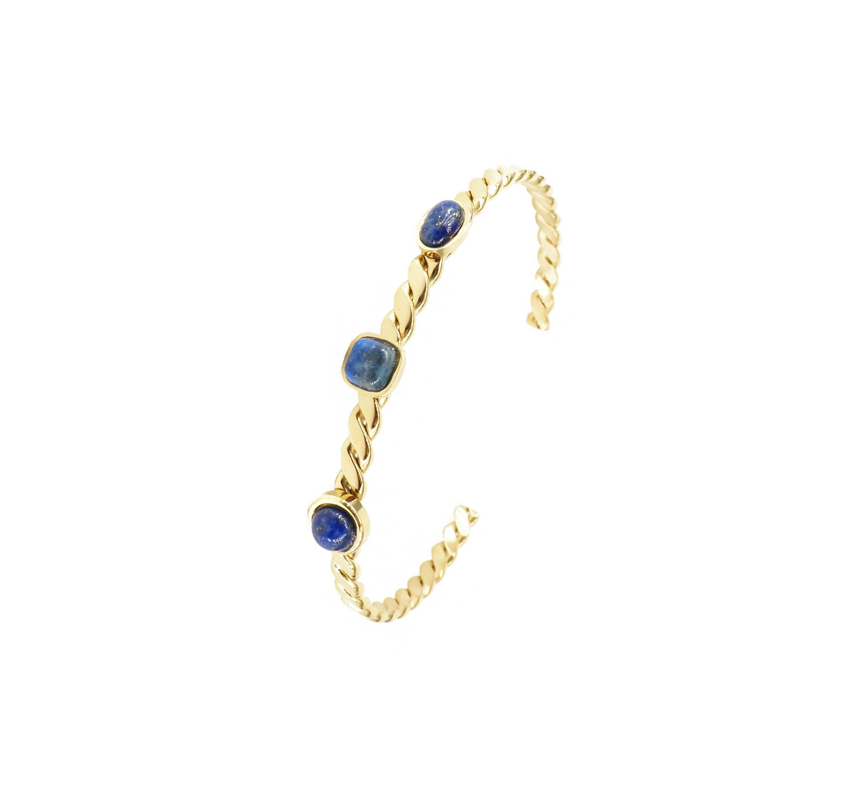 Bracelet jonc 3 stones lapis lazuli acier or jaune - Zag Bijoux