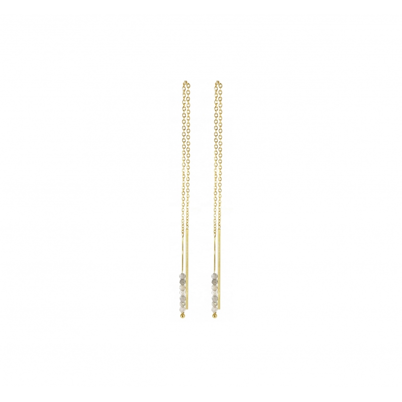Boucles d'oreilles traversantes labradorite en acier jaune - Zag Bijoux