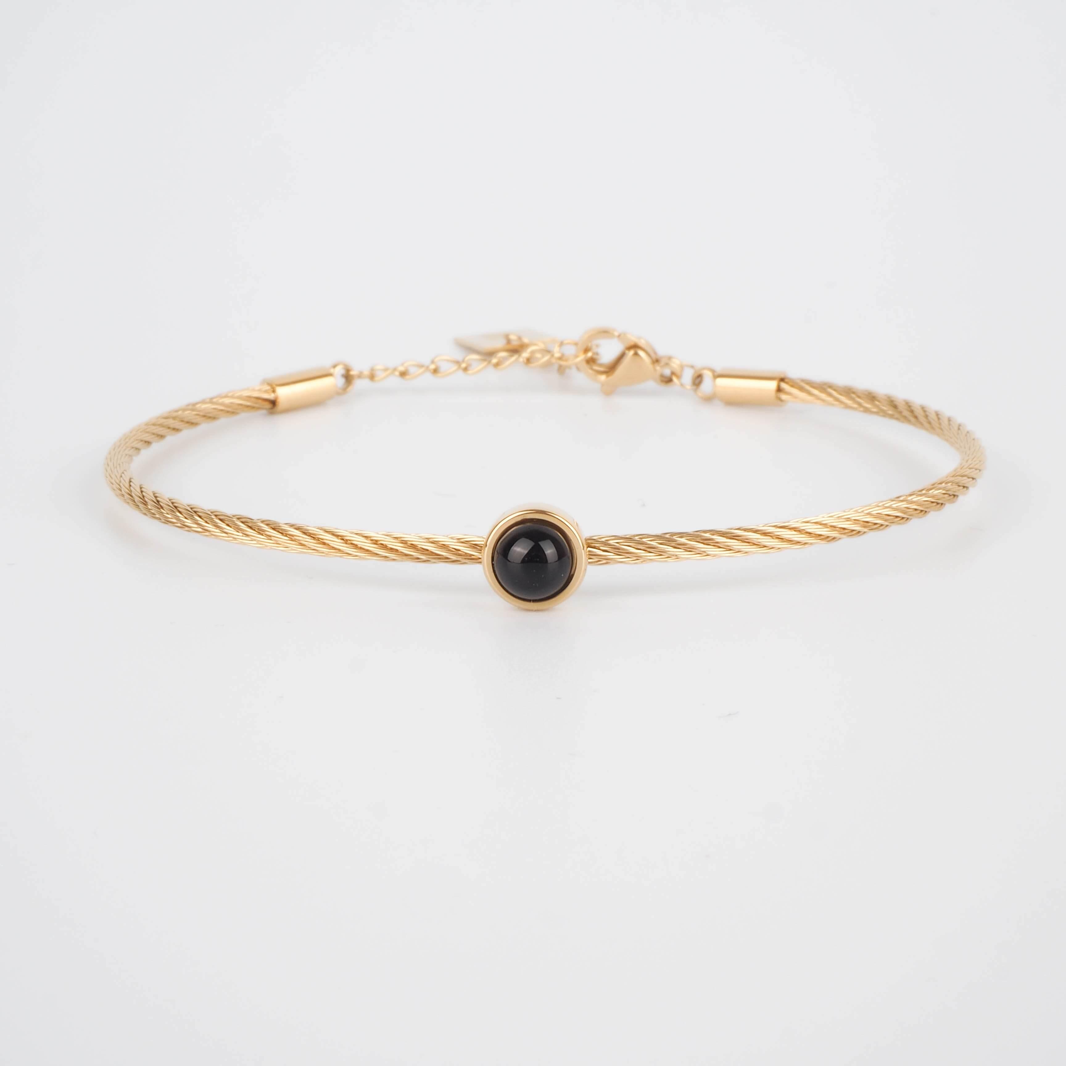Bracelet jonc Calypso en onyx - ZAG Bijoux
