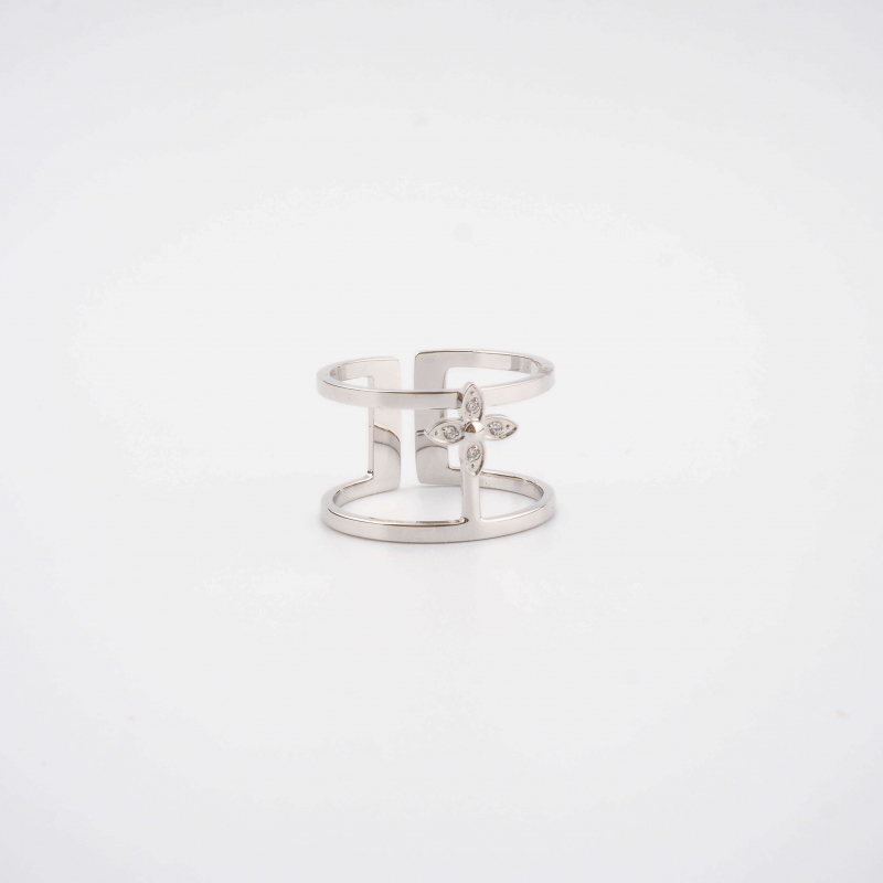 Flora bangle ring in steel...