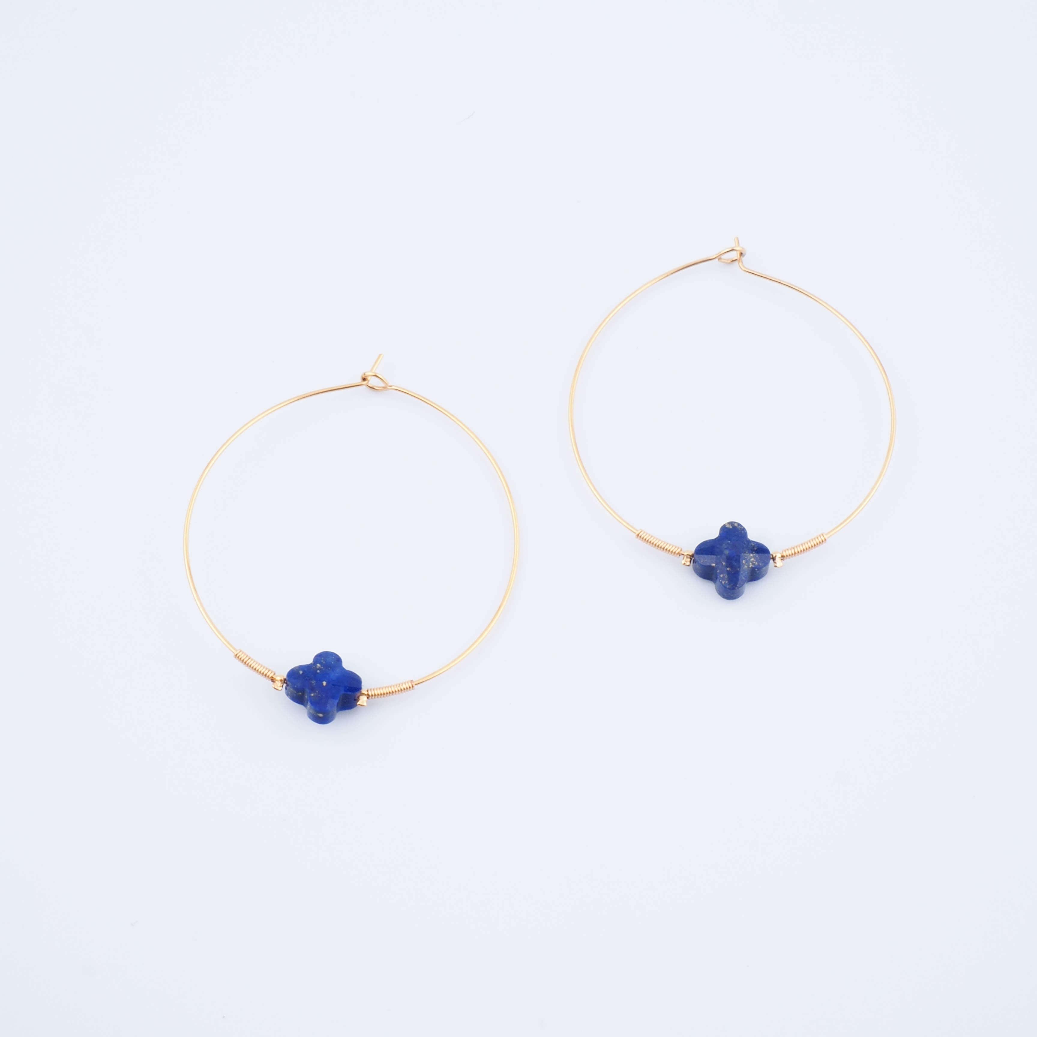 Boucles d'oreilles créoles Elena lapis lazuli - Zag Bijoux