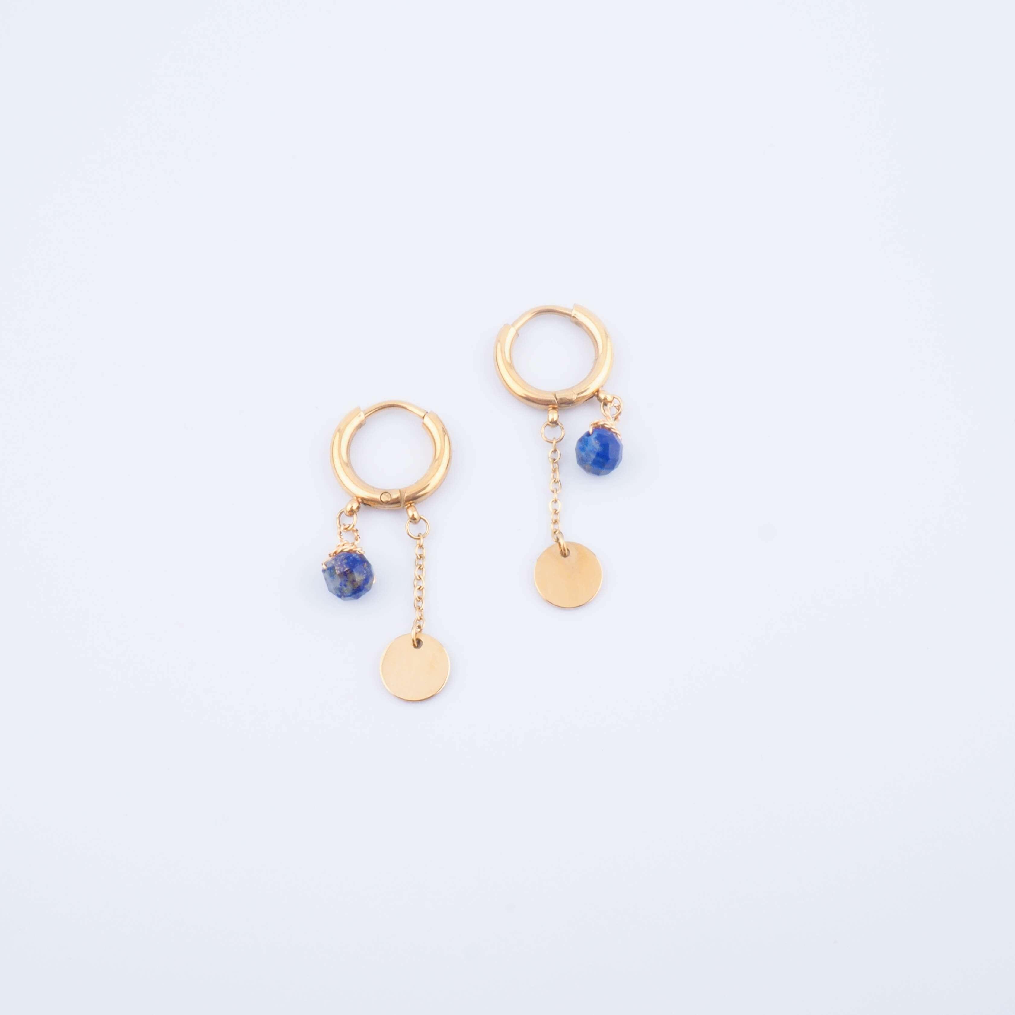 Boucles d'oreilles créoles Lany lapis lazuli - Zag Bijoux