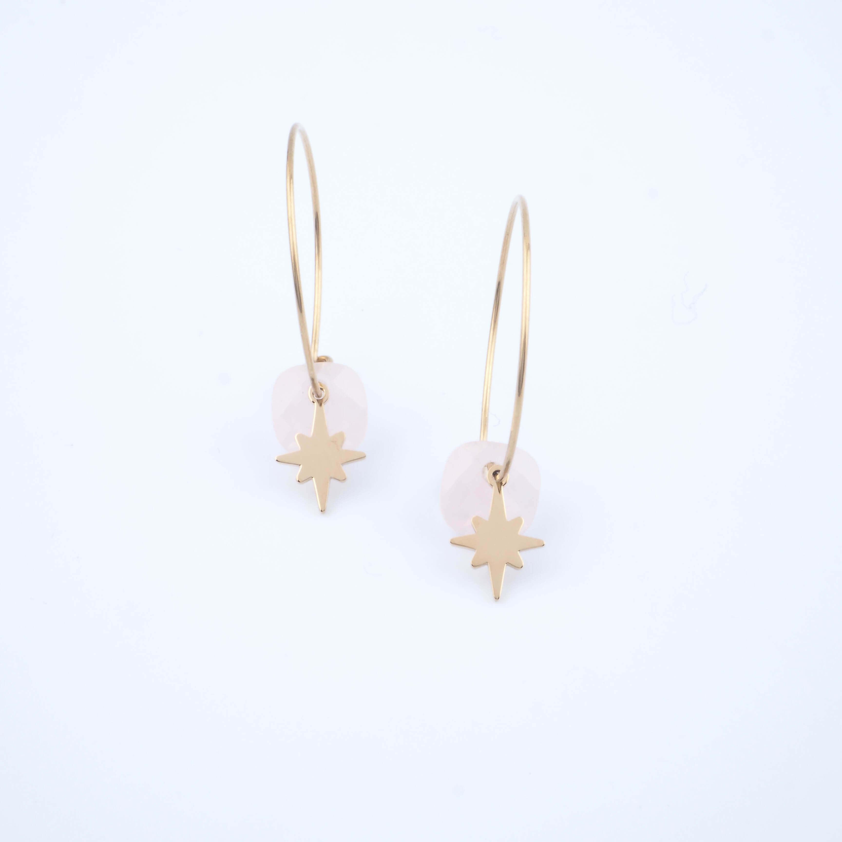 Boucles d'oreilles créoles Théa quartz rose - Zag Bijoux