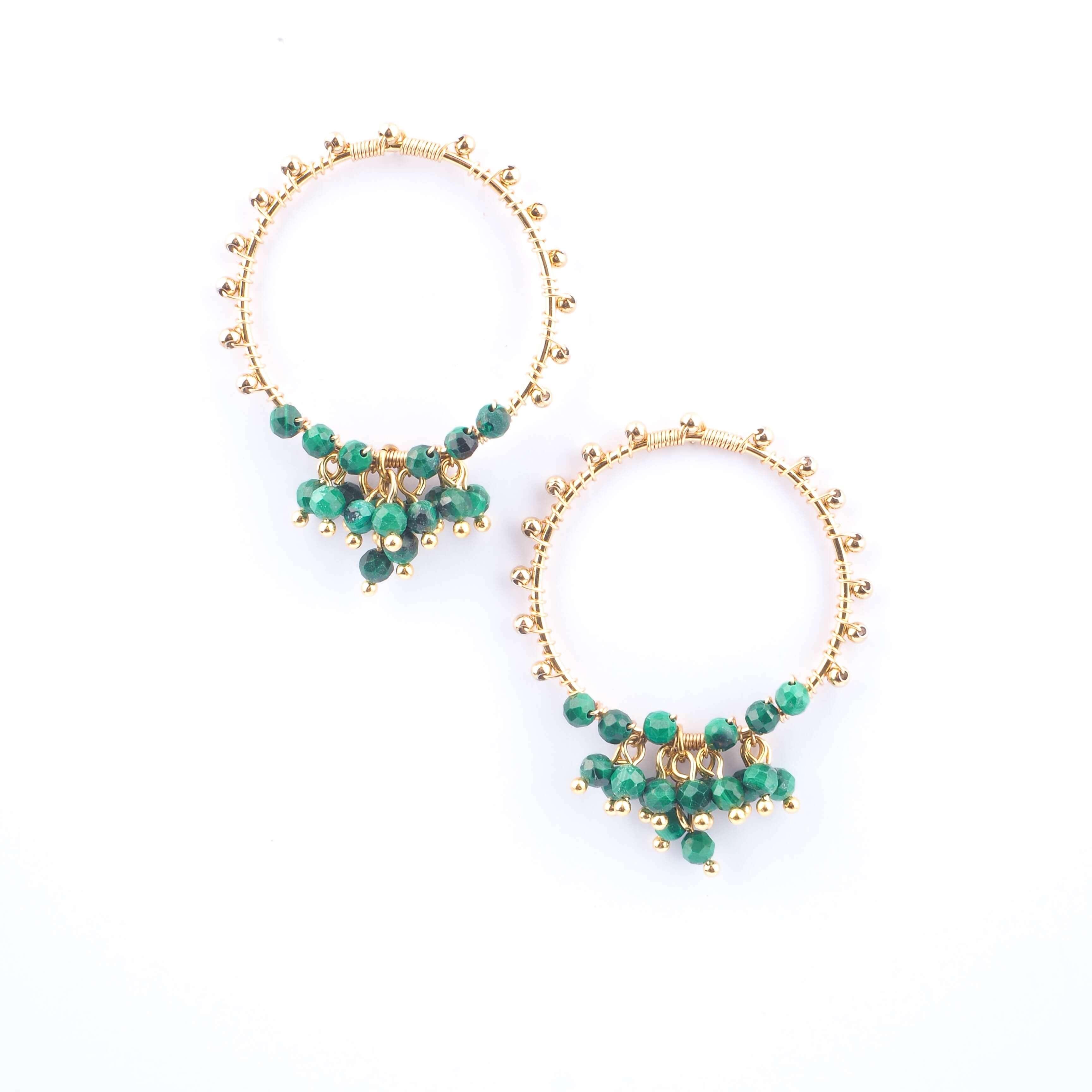 Boucles d'oreilles Grappa en malachite  - ZAG Bijoux