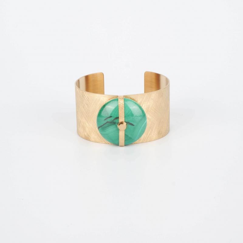 Bracelet manchette Parisse en malachite - Zag Bijoux