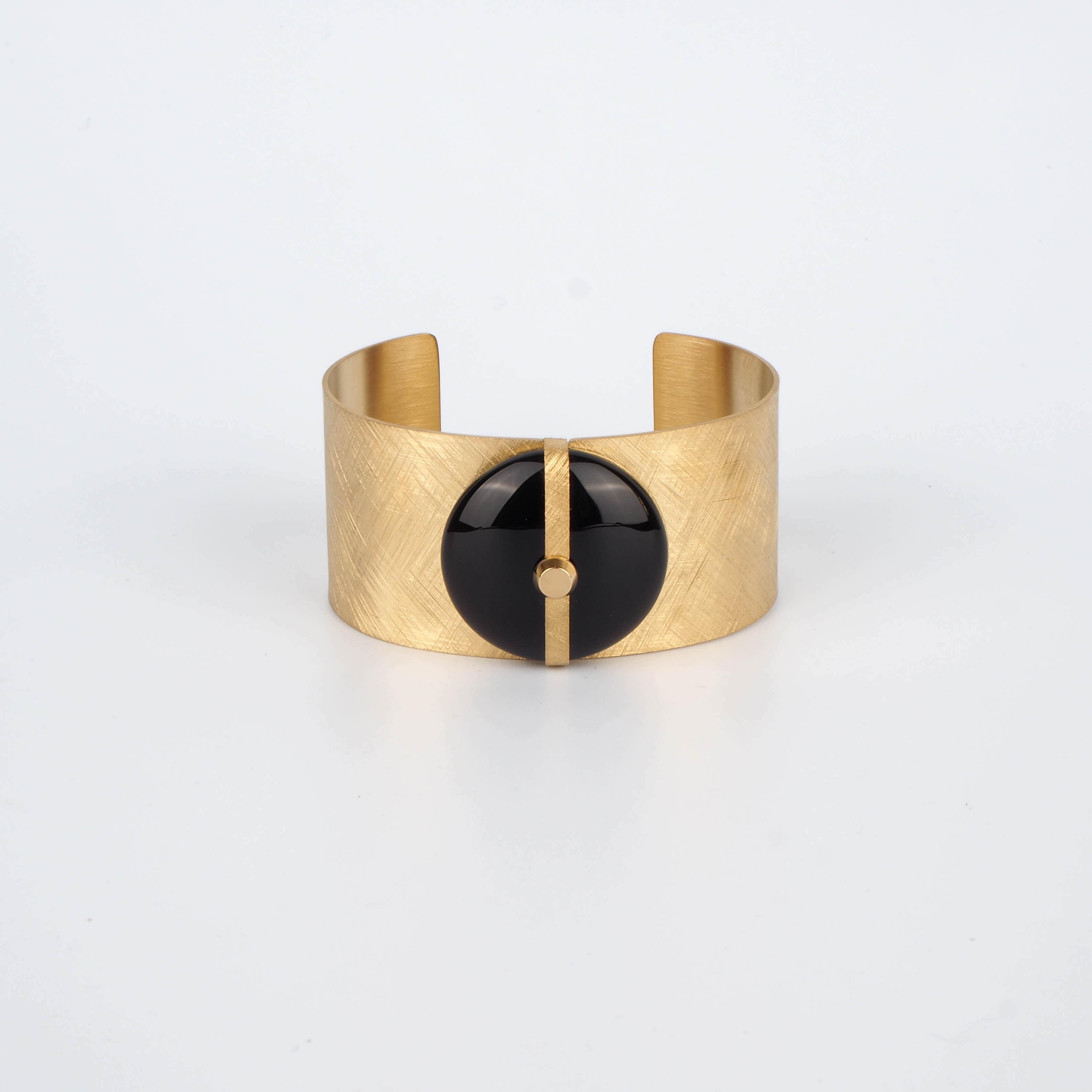 Bracelet manchette Parisse en onyx - Zag Bijoux