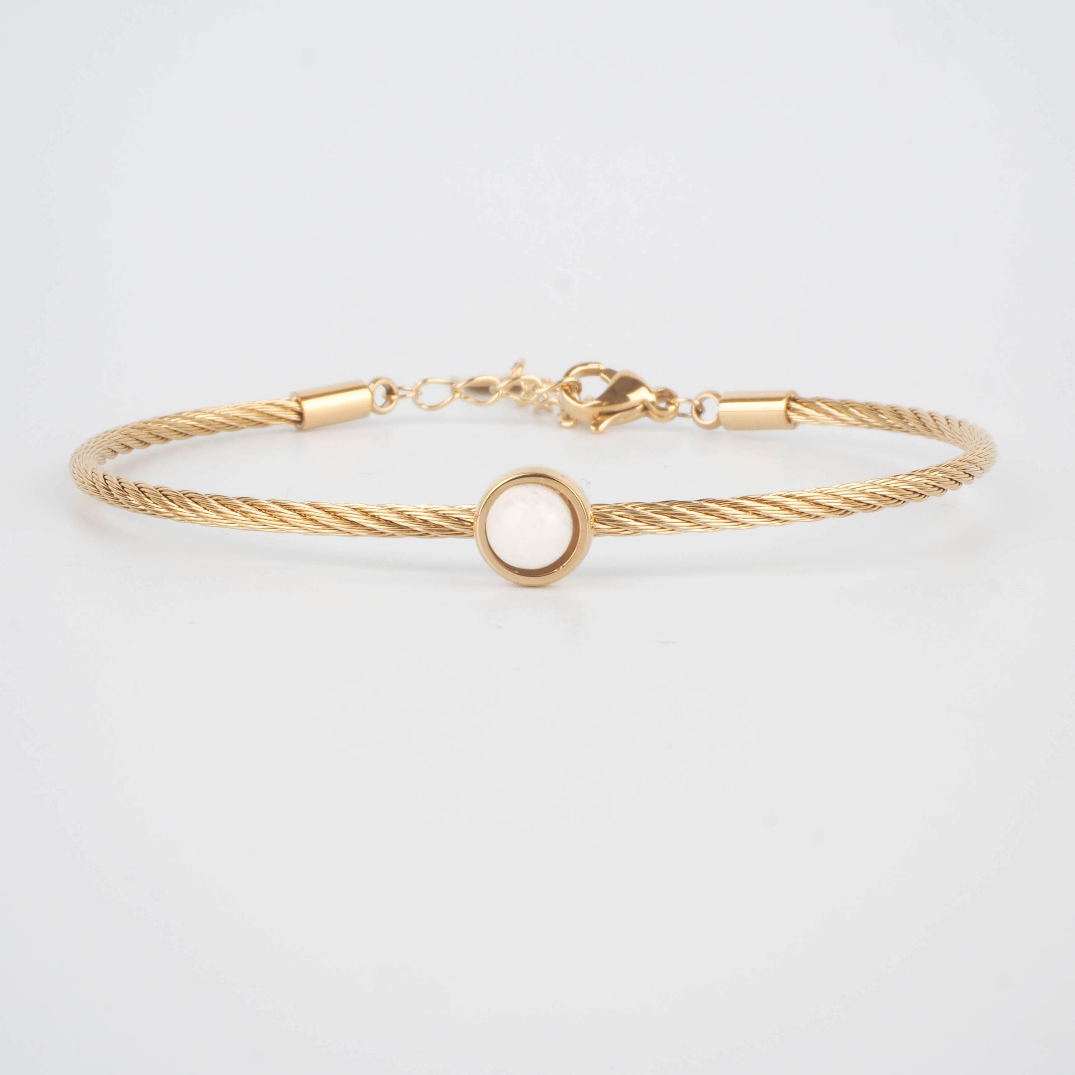 Bracelet jonc Calypso en agate blanche - ZAG Bijoux