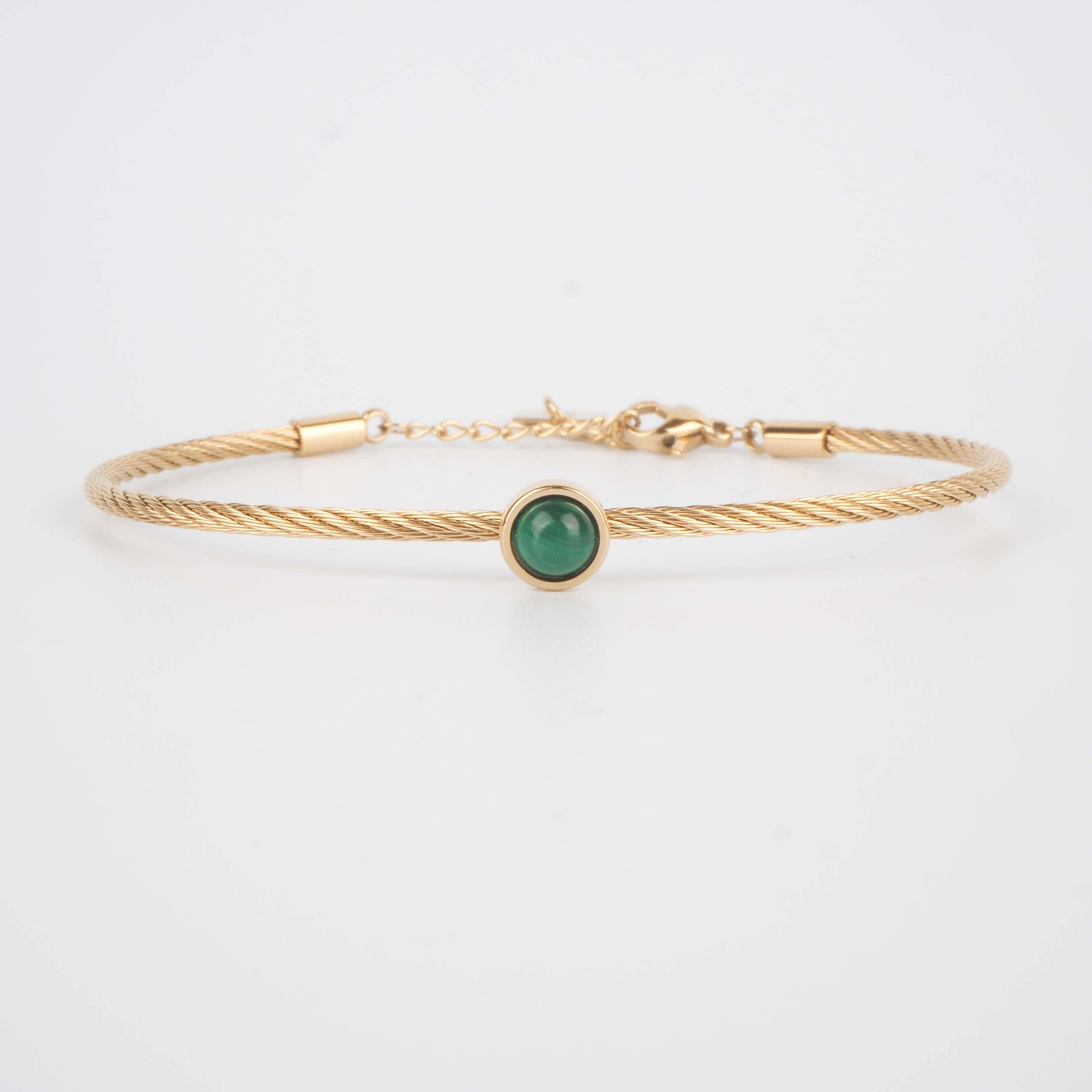 Bracelet jonc Calypso en malachite - ZAG Bijoux