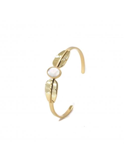 Pearly feather gold bangle bracelet - Zag Bijoux