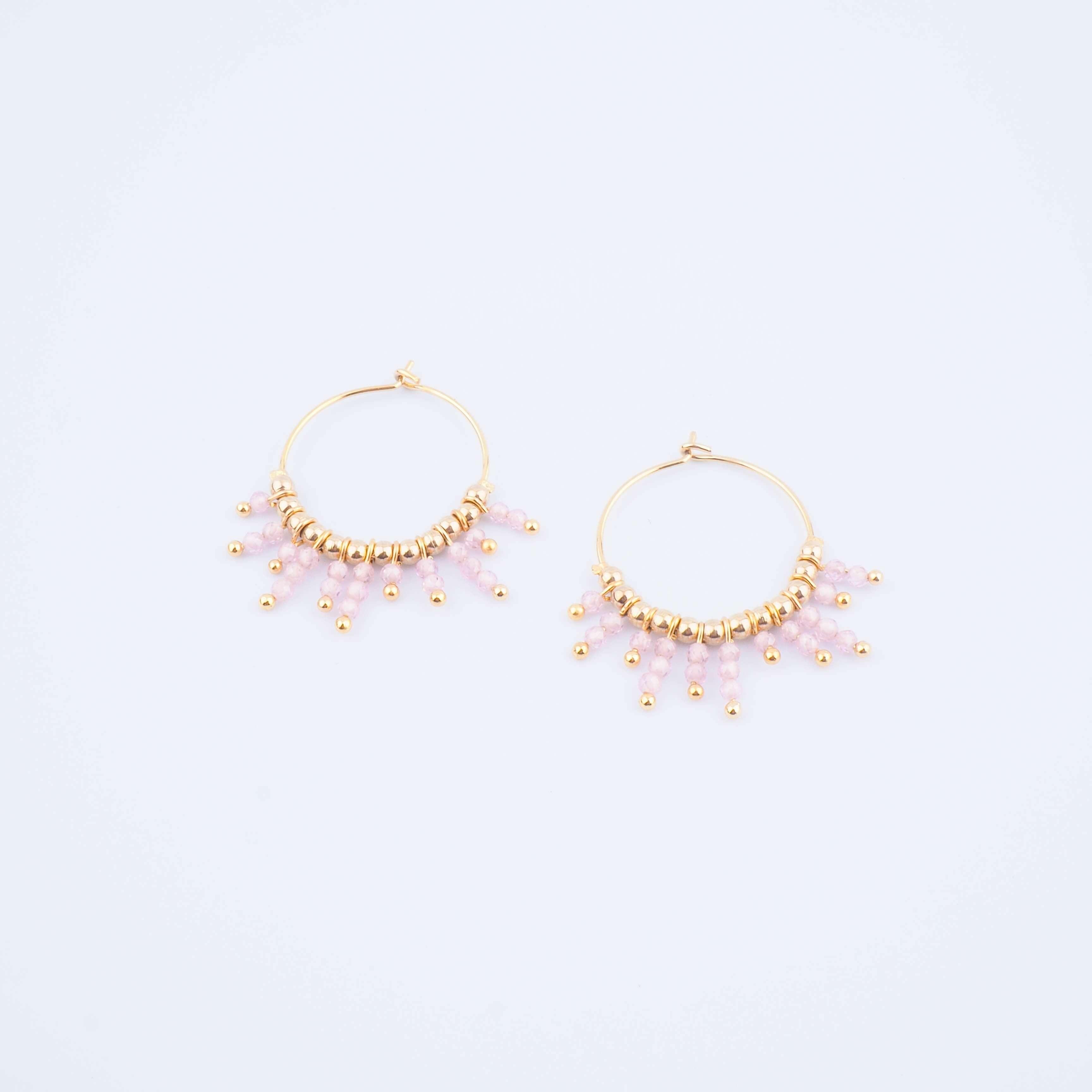 Boucles d'oreilles Paon en quartz rose - ZAG Bijoux