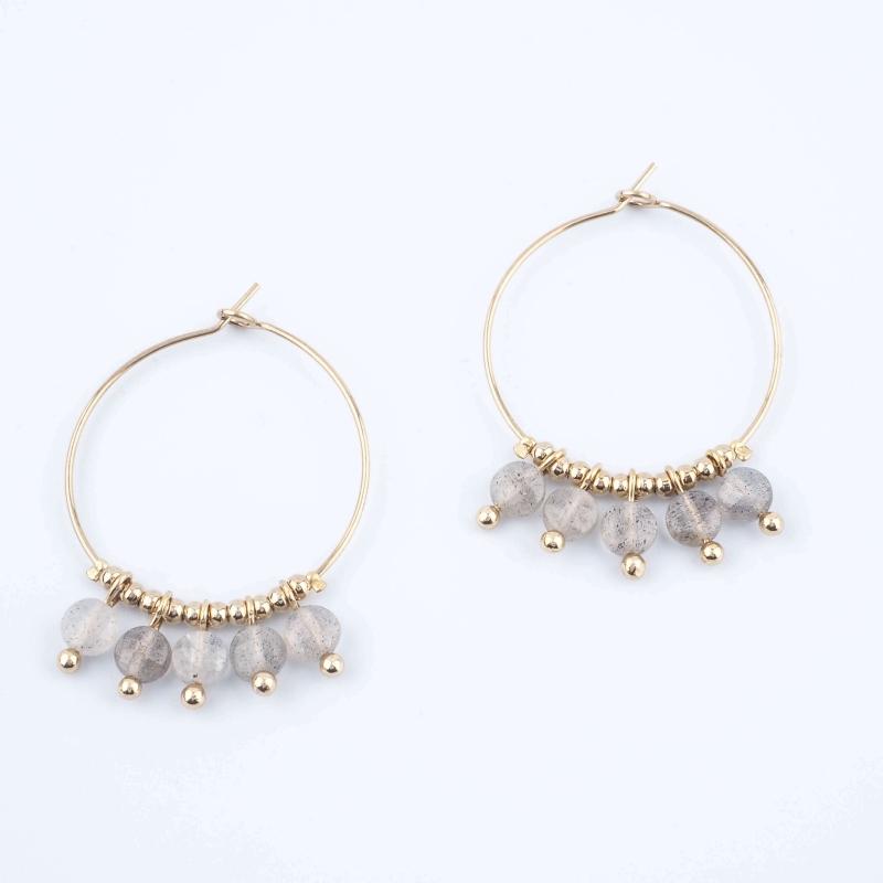Lina labradorite hoop earrings - Zag Bijoux