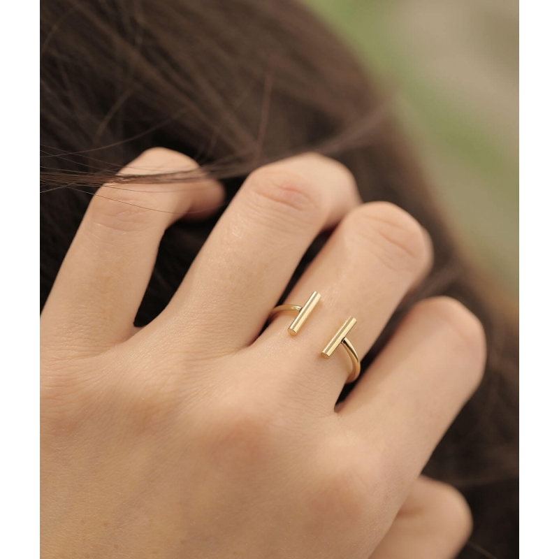 Double barrettes rose gold ring - Zag Bijoux