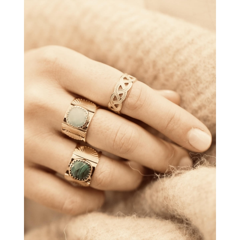 Precious amazonite fan gold ring - Zag Bijoux