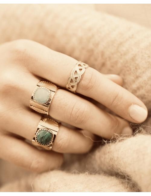 Precious malachite fan gold ring - Zag Bijoux