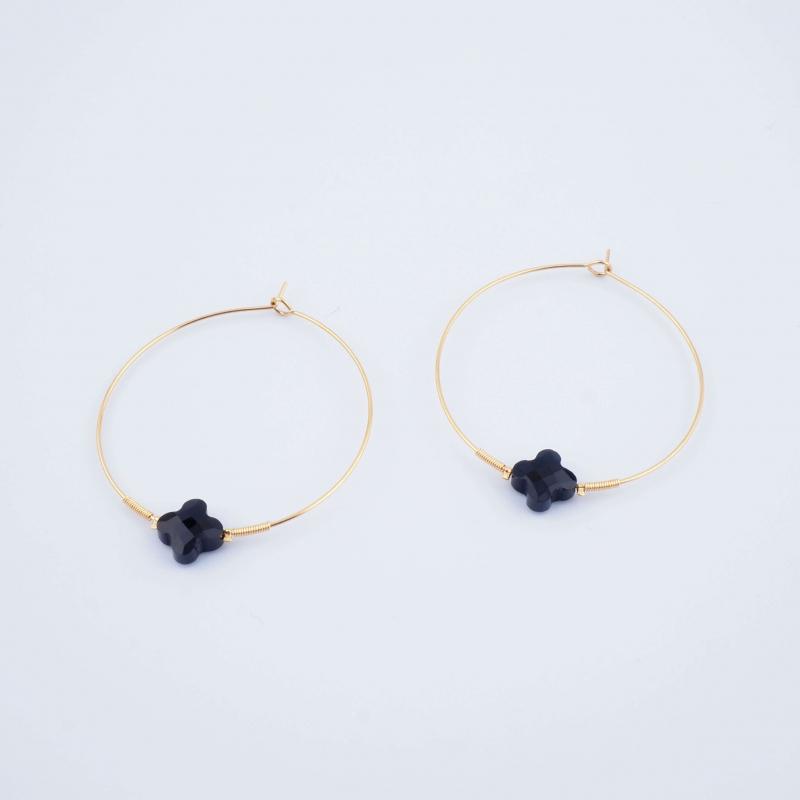Elena onyx hoop earrings -...