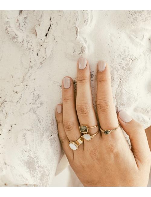 Oval stone heliolite gold ring - Zag Bijoux