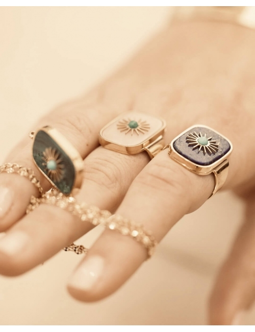 Sun malachite stone gold ring - Zag Bijoux