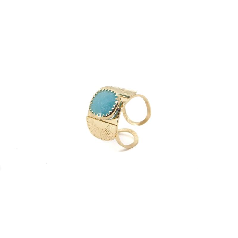 Bague éventail précieux en acier jaune et turquoise - Zag Bijoux