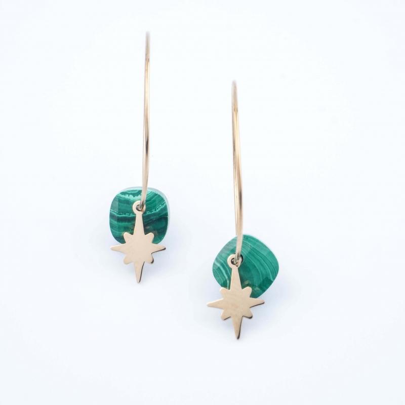 Thea malachite hoop earrings - Zag Bijoux