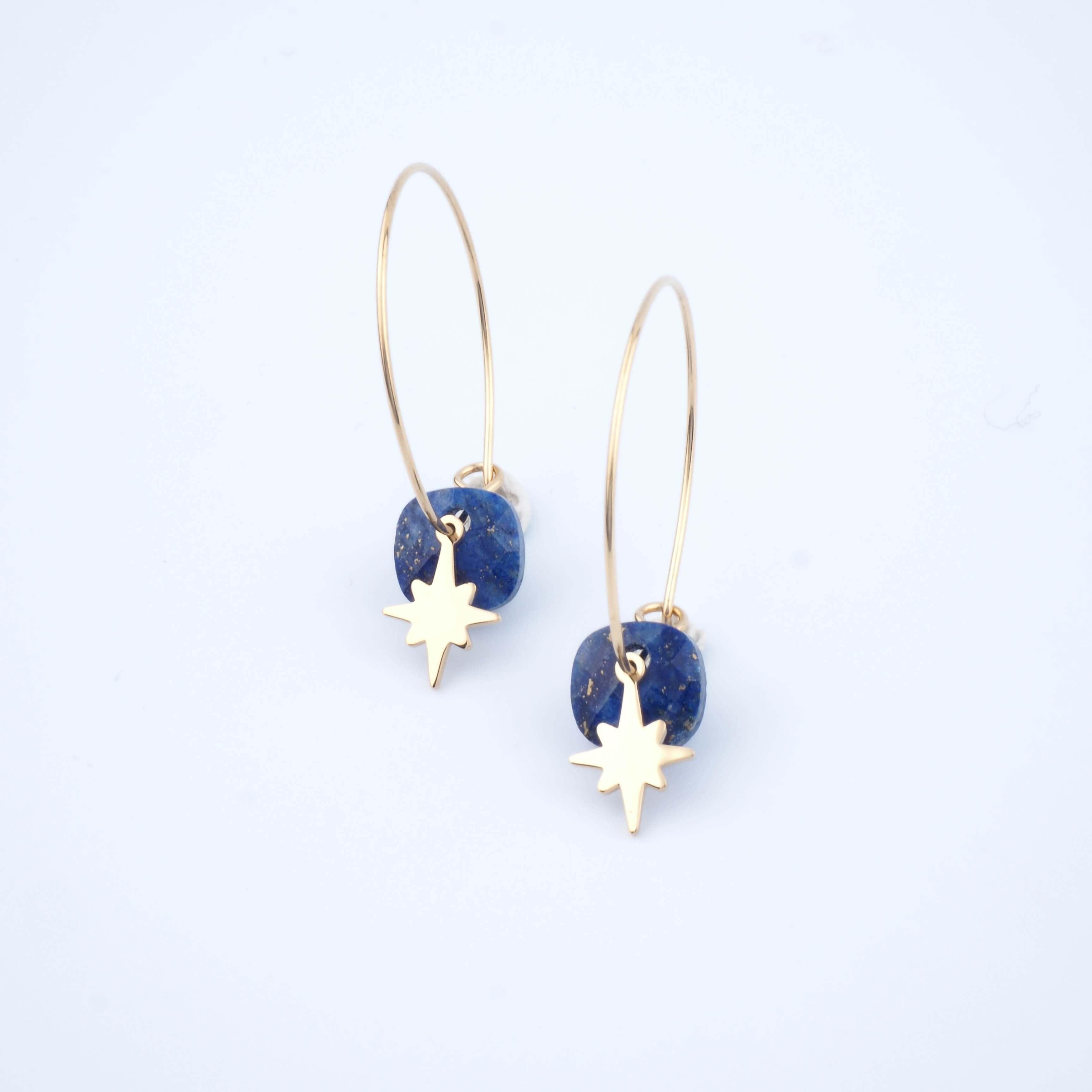 Boucles d'oreilles créoles Théa lapis lazuli - Zag Bijoux