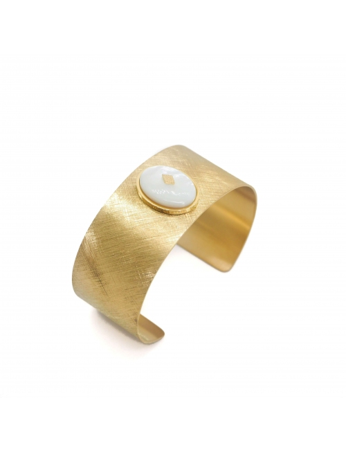 Gloria mother of pearl gold cuff bracelet - Zag Bijoux