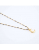 Collier Lune grise -...
