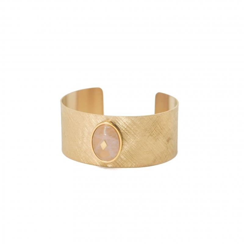 Manchette gloria en acier jaune et quartz rose - Zag Bijoux