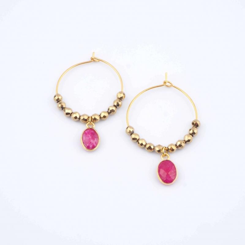 Red Pipa earrings -...