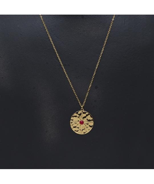 Collier pastille polar en acier et rubis indien - Zag Bijoux - Zag Bijoux