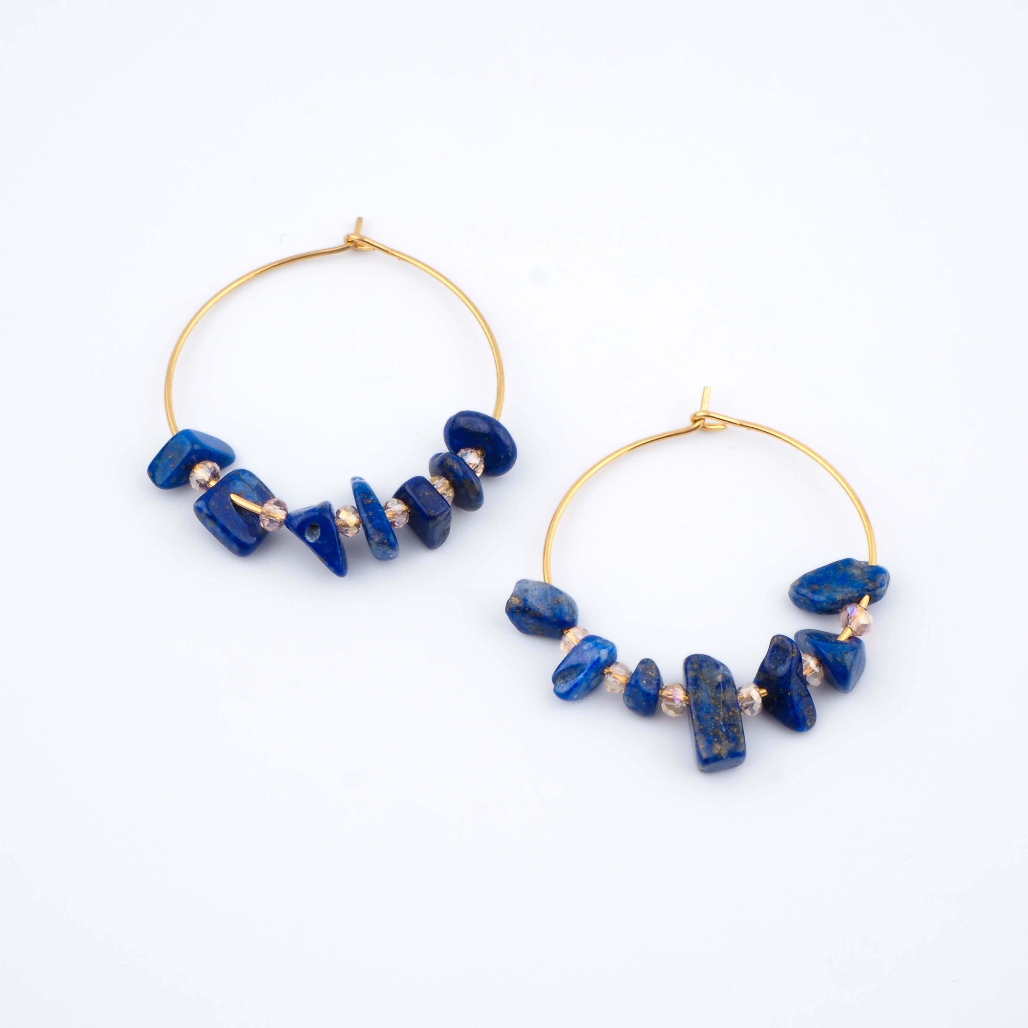 Boucles d'oreilles Prisca bleues - Ginandger Bijoux