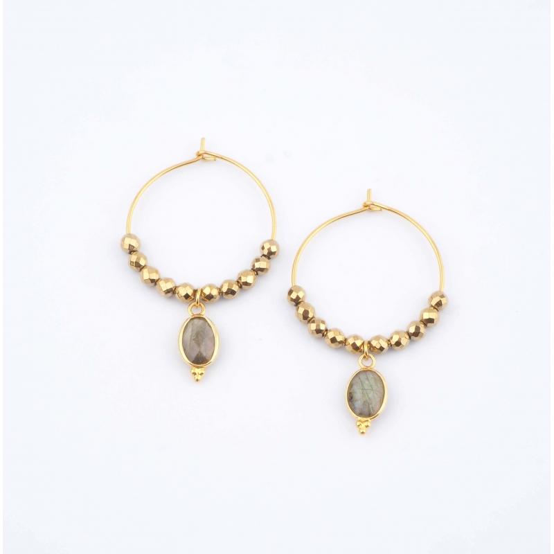 Gray Pipa earrings -...